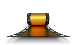Golden roll of negative film Stock Photos