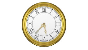 Golden roman numeral clock ticking stock video