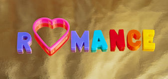 A golden romance. Text ' romance ' in colorful uppercase letters with the letter  ' o '  replaced by a pink heart shape on a golden background Stock Photography