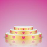 Golden romantic scene with pink hearts. Stock Images