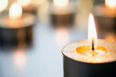 Golden Romantic Tea Lights In Bright Xmas Atmosphere On Wooden Table With Bokeh Royalty Free Stock Photos