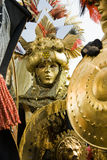 Golden Rome costume. Gold costumes in Venice. There were dressed like old Romans Stock Photo