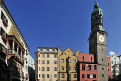 Golden Roof & City Tower in Innsbruck Royalty Free Stock Photography