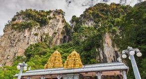 Golden roof on Indian temple in Batu Caves, Kuala Lumpur. Golden roof on Indian temple in Batu Caves, Sri Subramaniar Temple at Batu Caves Exterior Kuala Lumpur royalty free stock photos