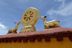 Golden roof of a lamasery in Tibet royalty free stock photo