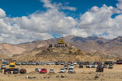 Golden roof monastery in Leh Ladakh. Leh, a high-desert city in the Himalayas, is the capital of the Leh region in northern India's Jammu and Kashmir state Stock Photos