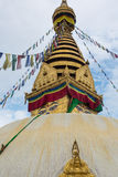 Golden roof of the monkey temple in Nepal Stock Images