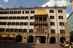 Golden roof museum in Innsbruck. The Small Golden Roof, a very decorated house with a sophisticated gothic balcony ornamented of high relieves and a golden roof Royalty Free Stock Images