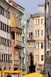 Golden roof museum in Innsbruck. The Small Golden Roof, a very decorated house with a sophisticated gothic balcony ornamented of high relieves and a golden roof Royalty Free Stock Image