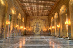 Golden room of Stockholm city hall Stock Images