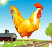 Golden Rooster. Golden sit on the hedge and control all chickens vector illustration
