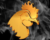 Golden Rooster on the background of the smoke. Closeup Stock Photography