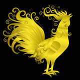 Golden Rooster on Black Background. Fire Rooster Crowing. Symbol of New Year 2017. Chinese zodiac sign. Flourish weave design. Vector decorative flame bird Royalty Free Stock Photography