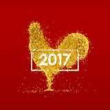Golden rooster. Chinese calendar. Royalty Free Stock Images