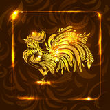 Golden rooster on dark brown background. stylized drawing. greet Royalty Free Stock Photo