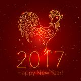 Happy New Year Dark Glossy Background with Glittering Sparcles. 2017 Chinese New Year Greeting Card with Hand Drawn Peacock. Golden Rooster on Dark Glossy vector illustration