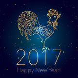 Happy New Year Dark Glossy Background with Glittering Sparcles. 2017 Chinese New Year Greeting Card with Hand Drawn Peacock. Golden Rooster on Dark Glossy stock illustration