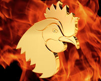 Golden Rooster on a fiery background. Closeup Royalty Free Stock Photography