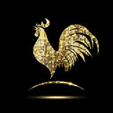 Golden Rooster of Glittering Spangles Royalty Free Stock Images
