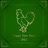 Golden rooster on green background Royalty Free Stock Photos