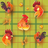 Golden Rooster Pattern. Vector seamless pattern background with hand-drawn holiday symbolic Fire Roosters on a green tablecloth Royalty Free Stock Photos
