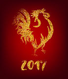Golden rooster on red background. Chinese calendar Zodiac for 2017 New Year of cock. Traditional asian culture animal symbol. Vector illustration with gold Stock Photography