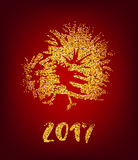 Golden rooster on red background. Chinese calendar Zodiac for 2017 New Year of cock. Traditional asian culture animal symbol. Vector illustration with gold Royalty Free Stock Photos