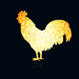 Golden rooster 2017. Shiny background with tiny golden particles in silhouette of rooster Royalty Free Stock Photo