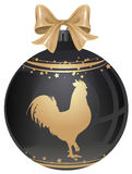 Golden Rooster symbol 2017 by Chinese calendar. Black luxury Christmas ball. With gold cock. Isolated on white vector illustration Stock Image
