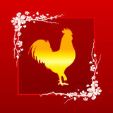 Golden Rooster symbol of Chinese New Year 2017. Gold cock. Illustration in vector format Stock Photos