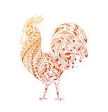 Golden Rooster symbol 2017. Rooster inspired zentangle style. Illustration can be used as a print fabric, bags, calendar, t-shirts, illustrations in the Stock Photo