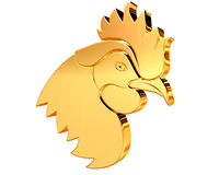 Golden Rooster on a white background Stock Image