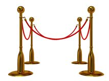 Golden rope barrier over white Royalty Free Stock Photos