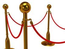 Golden rope barrier over white Stock Photos