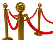 Golden rope barrier over white Royalty Free Stock Images