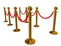 Golden rope barrier over white Royalty Free Stock Image