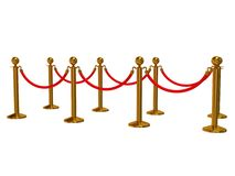 Golden rope barrier over white Stock Photography