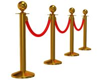 Golden rope barrier over white Royalty Free Stock Photography