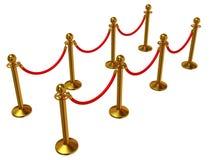 Golden rope barrier over white Stock Photo