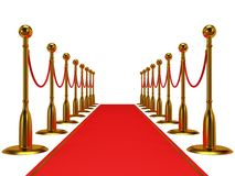 Golden rope barrier with red event carpet Stock Photos