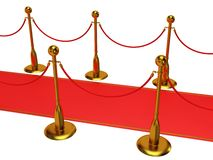 Golden rope barrier with red event carpet Royalty Free Stock Images