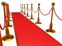 Golden rope barrier with red event carpet Stock Image