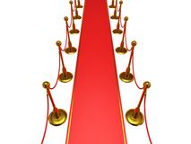 Golden rope barrier with red event carpet Stock Photography