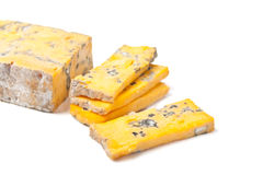 Golden roquefort cheese Stock Photos