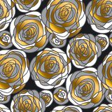 Golden rose concept flowers seamless pattern. Royalty Free Stock Image