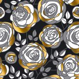 Golden rose concept flowers seamless pattern. Stock Photography