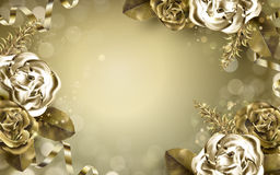 Golden rose elements Royalty Free Stock Image