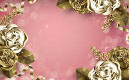 Golden rose elements Stock Images