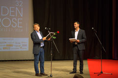 Golden Rose festival jury chairman. From 11 to 17 October 2014 in Varna was held 32nd Festival of Bulgarian Feature Film Golden Rose. Chairman of the festival stock photos