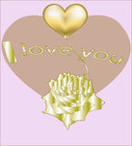 Golden rose and golden heart Stock Images
